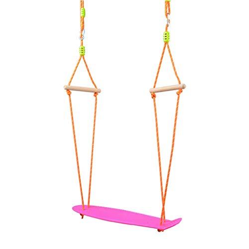 Beautiful happy Columpio de monopatín columpio para niños en interiores y exteriores, juguetes colgantes de madera, barandillas para entrenamiento deportivo (color: rosa)