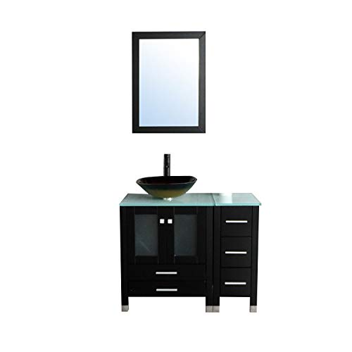 Walcut 36' Bathroom Vanity with Sink - MDF Wood Cabinet and Glass Vessel Sink and Faucet Combo (4)
