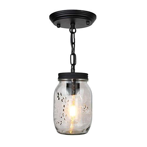 LIUCHANG Warm Home LED-Leuchter Glasgläser amerikanischen Land-Art-Retro Persönlichkeit Industrial Arts Kronleuchter Schlafzimmer Kronleuchter Esstisch Kleine Bar (10 * 17cm) Nice liuchang20