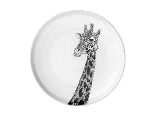 Maxwell & Williams Marini Ferlazzo Assiette à dessert en porcelaine fine Motif girafe africaine Noir/blanc 20 cm