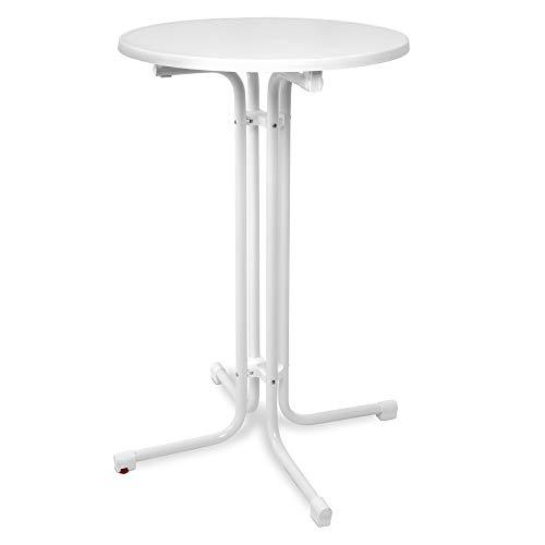 Beautissu Table Haute Pliante Outdoor Ø 70 cm Bellini - Table de Bar Ronde Blanc - Haute qualité & Résistant à la Chaleur – Résistant aux intempéries & réglable