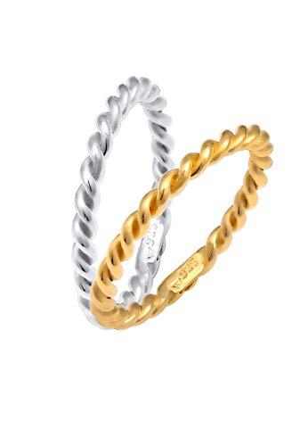 Elli Ring Damen gedreht Bi-Color in 925 Sterling Silber