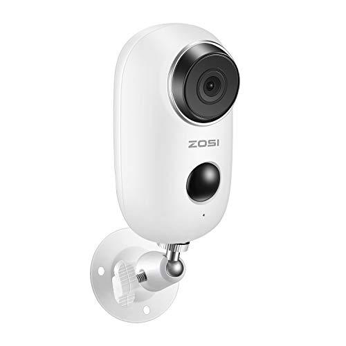 ZOSI 720P Cámara de Vigilancia WiFi 100% Cámara IP Inalámbrica, con Batería Recargable, Voz Bidireccional, Detección de Movimiento PIR, Visión Nocturna, Impermeable