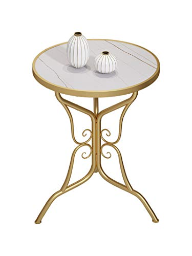 C-S-Qing-Desk Decorative Flower Stand, Marble Finish White Round Coffee Table Cafe Restaurant Living Room Corner Table Golden Metal Frame(Size:50.5 * 50.5 * 65CM,Color:A)