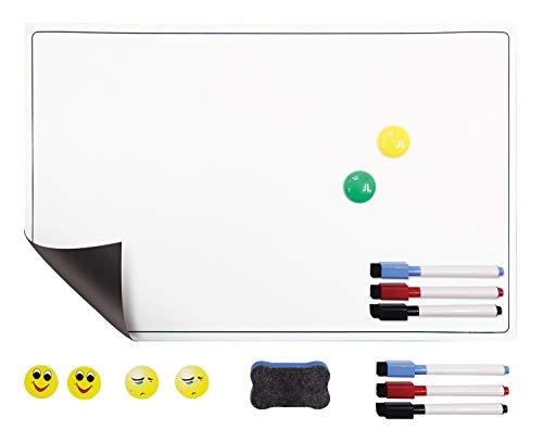 POPRUN Magnettafel Kühlschrank magnetisches Essensplaner abwischbar Wochenplaner,Whiteboard Planer für Einkaufsliste Putzplan Küche 43 x 28 cm