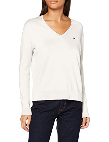 Tommy Jeans Damen Tjw Soft Touch V-Neck Sweater Pullover, Snow White, M