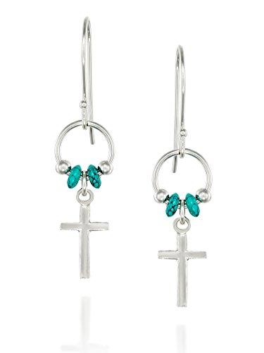 925Sterling Silber Kreuz Ohrringe Mit Türkis Perlen Akzente und französischer Draht Haken