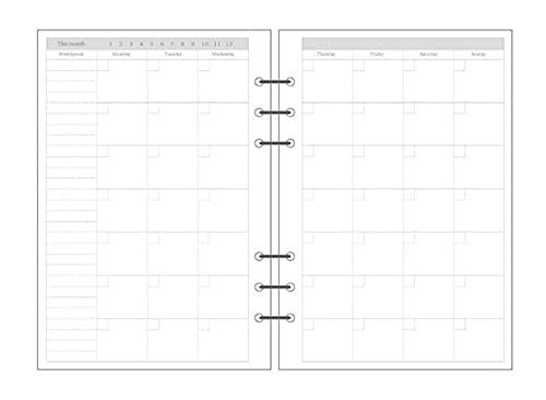 LWBKD Espiral Transparente Cuaderno Cuaderno Flojo Diario Bobina Carpeta Llena Papel Planificador Separado (Color : Monthly Plan, Size : A5)