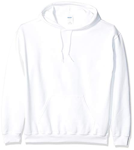 Gildan Men's Heavy Blend Fleece Hooded Sweatshirt G18500, White, Medium