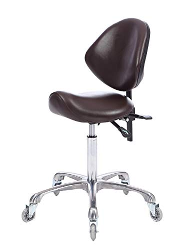 FRNIAMC Rolling Saddle Stool with Backrest Height Adjustable Ergonomic Design Office Chair with Wheels for Beauty Salon Medical Clinic Kitchen Studio Home Office Use(Brown)