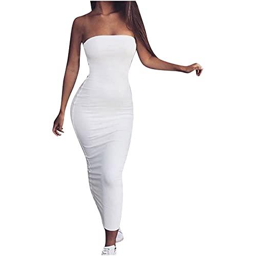 AMhomely Vestidos de mujer Venta Promoción Liquidación Señoras Color sólido Sexy tubo vestido superior con mochila vestido de cadera Tamaño Reino Unido Fiesta Elegante Vestido