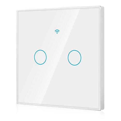 Interruptor inteligente, control remoto de 2 vías de moda inteligente Wifi Interruptor de una vuelta, control de teléfono móvil, control de aplicaciones, control de toque, soporte Alexa(White)