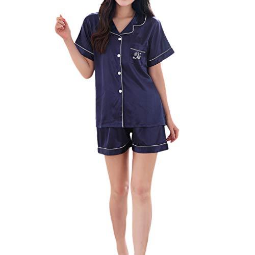 MRULIC Valentinstag Schlafanzug Sets Damen Kurzarm Nachtwäsche Frühling und Sommer Komfortable Pyjamas für Zuhause(Dunkelblau,EU-42/CN-2XL)