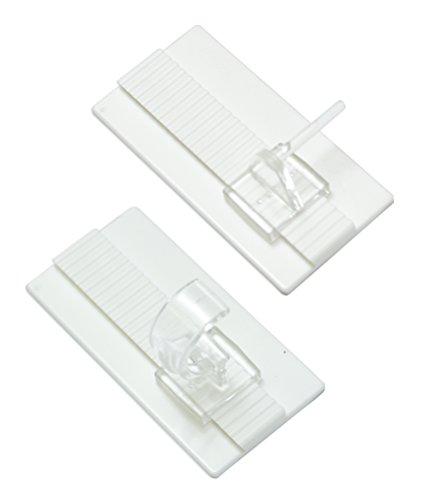 GARDINIA Klebehaken-Set Universal für Vitrage- und Caféhausstangen, 2 Grundplatten 5 x 2,5 cm (LxB), 2 Stift- und 2 Auflageträger, Kunststoff, Weiß-transparent