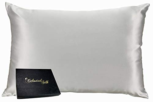 Celestial Silk 100% Silk Pillowcase for Hair Zippered Luxury 25 Momme Mulberry Silk Charmeuse Silk on Both Sides of Cover -Gift Wrapped- (Queen, Silver)