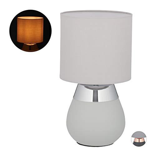 Relaxdays Nachttischlampe Touch dimmbar, moderne Touch Lampe, 3 Stufen, E14, Tischlampe, HxD: 32,5 x 18 cm, grau-silber