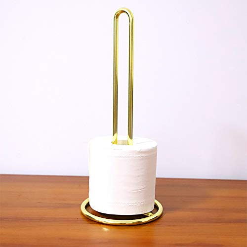 Wankd Toilettenpapier-Ersatzrollenhalter - Toilettenpapierhalter freistehend - Designer Klopapierhalter - praktischer und schicker Papierrollenhalter - Farbe: Gold (chromiert)