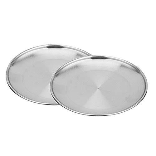 Cratone 2 Stck Food Plate Edelstahl Teller Braten Abendessen Teller BBQ Picnic Plate Size 23CM