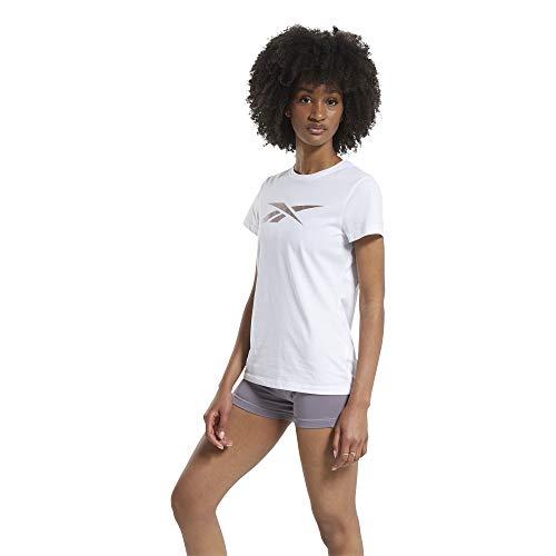 Reebok TE Graphic Vector tee Camiseta, Mujer, Blanco/rosgol, XS