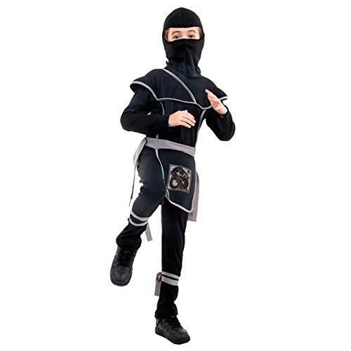 Fantasia de Ninja Samurai Preto Com Gorro Infantil Luxo M 5-8