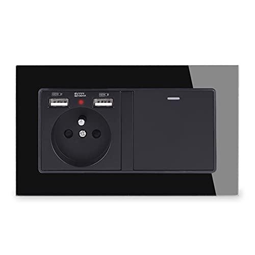 HLY-CASE Enchufe de Pared con 2 Puertos de Carga USB + 1 Gang 1 Way ON/Off Rocker Light Switch Blanco Blanco Diseño Elegante (Rated Voltage : 110-250V, Type : Black)