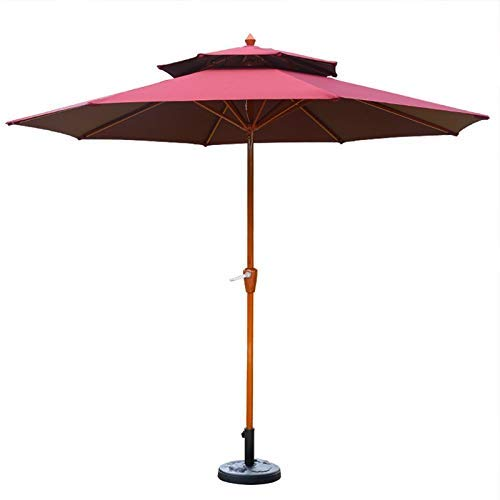 Patio Paraguas Al aire libre Top Doble Top 2.7m (8,9 pies) Paraguas de jardín, Market Parasol para balcón, Patio, Pesca, Patio trasero - Protección UV impermeable (Color: Blanco) MISU ( Color : Red )