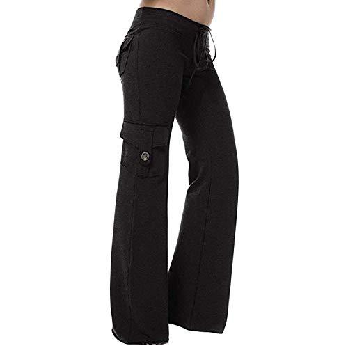 Petalum Damen Yogahosen Sporthose Jogginghose Lange Elastische Bootcut Hose Weite Bein Freizeithose Pants mit Tunnelzug mehrere Taschen Fitness Streetwear (36-38, schwarz)