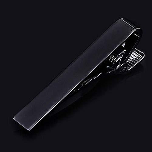 manda Stell Krawattenklammern für Herren Krawattennadel Set quadratische Kanten Krawattennadel Silber Gold Schwarz, 0, schwarz 2