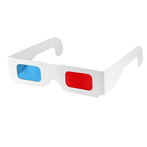 5 x Red-Blue Cardboard Lenses with White Frame and 3D Paper Glasses Anaglyph Design for Red and Blue Film