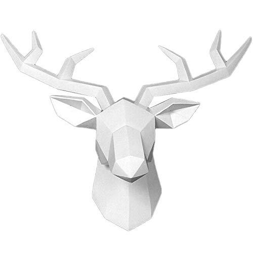 Decorazione da parete con testa di cervo di cervo – testa di animali da appendere alla parete in resina nera testa di cervo decorazione principale da parete in resina