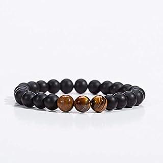MEN BRACELET - NATURAL STONE BLACK&BROWN -20 CM - 3 orange stones