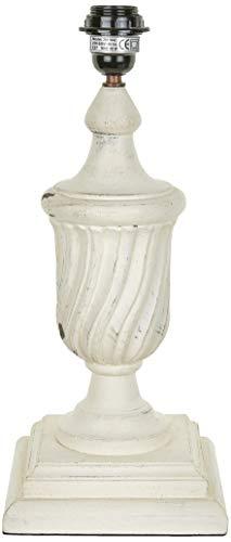 Better & Best 2811042 – lampe de table en bois en forme de coupe strié avec Base carrée, blanc