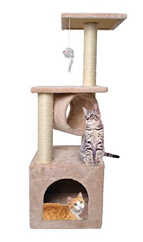 MALATEC Katzenkratzbaum 90cm Kletterbaum Stabil für Katzen Klettergerüst 7959, Farbe:Beige