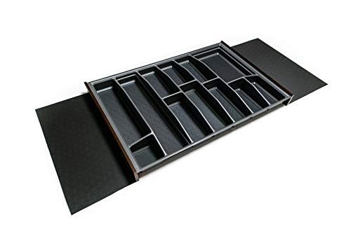 LANA solution 90er - 120er Schublade - Universal Besteckeinsatz – Tiefe wählbar (Anthrazit, 462 mm Schubladentiefe)