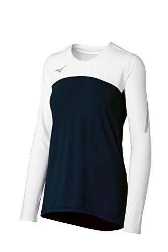 Mizuno Women's Techno VII Long Sleeve Volleyball Jersey, Black-White, Medium