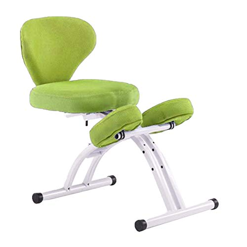 Bseack Kneeling Chair Ergonomic Kneeling Chair with Backrest Orthopedic Chair for Children Height Adjustable Home Student Writing Chair Effectively Prevent Humpback Myopia (Color : Green)