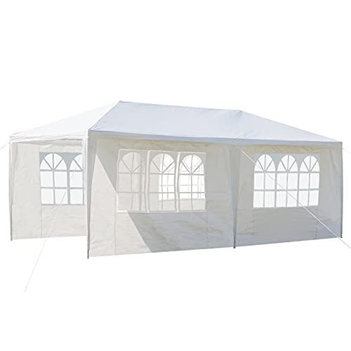 Linglong Carpa de jardín con toldo de 3 x 6 m, impermeable, con 4 paneles laterales y tubos espirales, para fiestas, bodas, aparcamientos, barbacoas, eventos comerciales (entrega en 2 a 7 días)