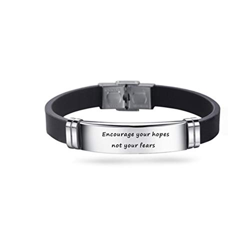 TGLS Encourage Your Hopes Not Your Fears Inspirational Engraved Stainless Steel Wristband Silicone Bracelets Inspiring Gift for Men