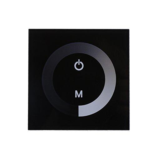 DC12-24V Panel De Control Táctil De Pared Panel De Control LED Interruptor De Regulador Cambio De Brillo Para La Luz De Tira LED (Color : Negro)