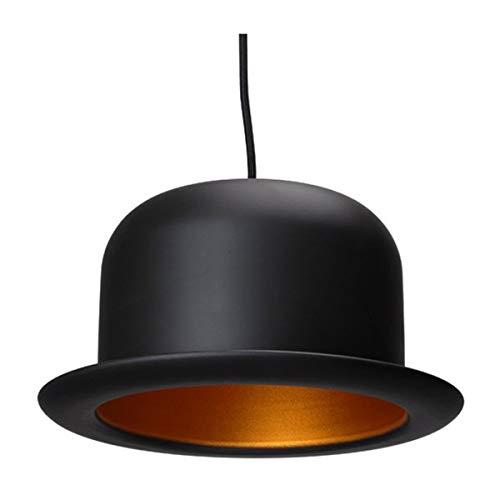 QCLU Suspension Hat Melon Bombilla Halógena De Metal Negro Y Dorado Incluida D25 X H15 Cm (Color : Round)