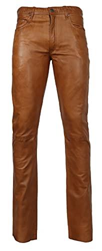 RICANO Slim Fit, Herren Lederhose in 5-Pocket Jeans Optik aus echtem Lamm Nappa Leder (Glattleder) (Schwarz, Grau, Cognac Braun) (Cognac Braun, 29)