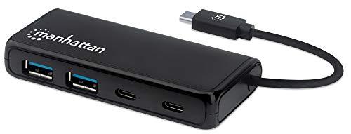 Manhattan 164894 4-Port USB 3.2 Gen 1 Hub USB-C-stekker op 2 x USB-A-bus en 2 x USB-C-aansluitingen, 5 GB/S gegevensoverdracht, stroomvoorziening via USB, zwart