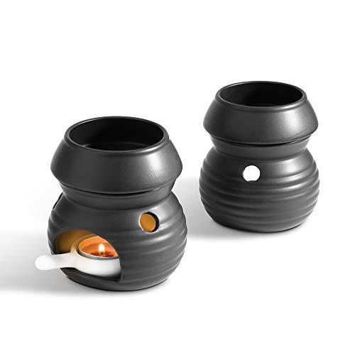 ComSaf Keramik Duftlampe mit Kerzenhalter Matt Schwarz 2er-Set, Aromalampe Aromabrenner für Duftöl und Duftwachs