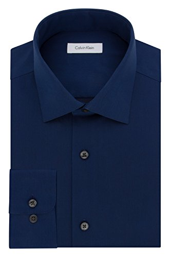 Calvin Klein Men's Dress Shirt Regular Fit Non Iron Herringbone, Blue Velvet, 17.5' Neck 32'-33' Sleeve (X-Large)