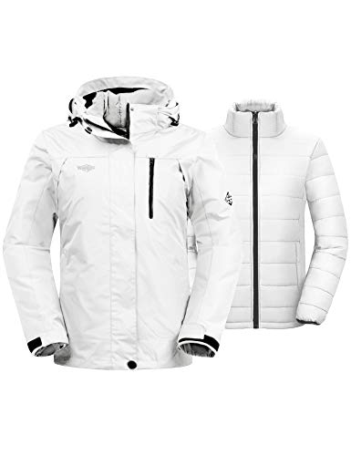 Wantdo Women's Windproof 3-in-1 Jacket Hooded Waterproof Ski Coat Ivory 2XL