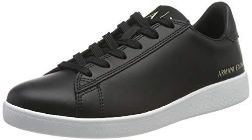 Armani Exchange Damen Action Leather Logo ax lace up Sneaker, Schwarz (Black 00002), 37 EU