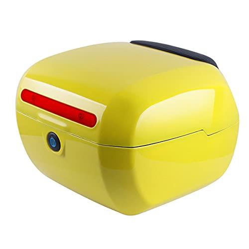 GELEI Scooter Baúl De Moto Reflector De La Caja De Almacenamiento del Equipaje del Casco, Caja Trasera De La Caja Trasera De La Bicicleta,Amarillo