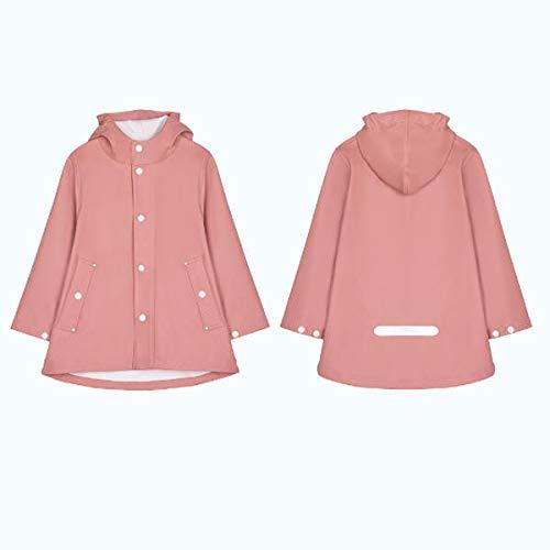 feilai Suministros de viaje para niños impermeable abrigo chaqueta poncho con tira de reflexión (color rosa, talla: L)