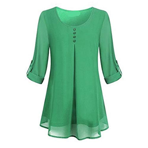 Shirt Women Novelty Round Neck Long Sleeve Solid Color Loose Stretch Chiffon Adjustable Sleeves Beach Vacation Light Airy Shirt Autumn Winter Party All-Match Top XL
