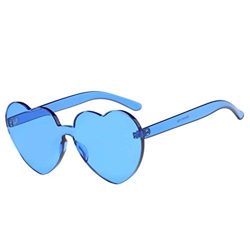 BESTOYARD Herz Sonnenbrille Retro farbige Gläser Brille Herzform Valentinstag Karneval Party Brille für Frauen Männer (Blau)